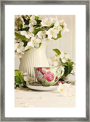 Tea Cup With Fresh Flower Blossoms Framed Print