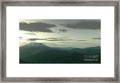Terragen Render Of Mt. St. Helens Framed Print by Rhys Taylor