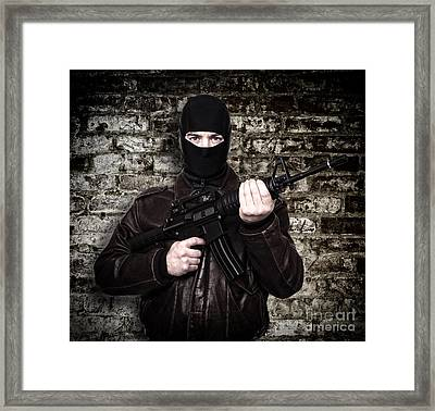 Terrorist Portrait Framed Print by Gualtiero Boffi