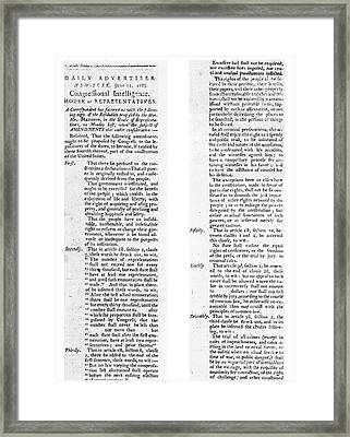 The Bill Of Rights, 1789 Framed Print