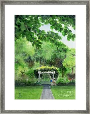Framed Print featuring the painting the garden at the wellers carriage house in Saline  Michigan 1 by Yoshiko Mishina