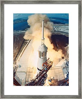 The Launch Of A Space Rocket Framed Print by Stockbyte