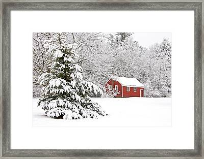 The Little Red School House Framed Print by Gordon Ripley