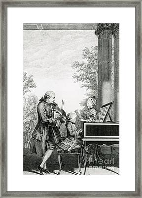 The Mozart Family On Tour, 1763 Framed Print by Photo Researchers