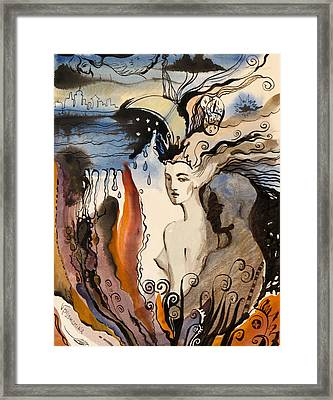 Framed Print featuring the painting The Night Is Too Short by Valentina Plishchina