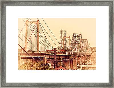 The Two Carquinez Bridges At Crockett And Vallejo California . Aka Alfred Zampa Memorial Bridge . 7d8919 Framed Print by Wingsdomain Art and Photography