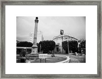 The Venetian Column In Ataturk Square Nicosia Trnc Turkish Republic Of Northern Cyprus Framed Print by Joe Fox