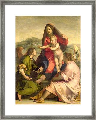 The Virgin And Child With A Saint And An Angel Framed Print by Andrea del Sarto