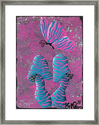 Framed Print featuring the painting The Zebra Effect by Oddball Art Co by Lizzy Love