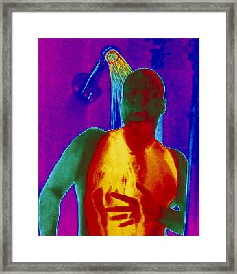 Thermogram Of A Man Taking A Shower Framed Print