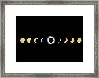 Timelapse Image Of A Total Solar Eclipse Framed Print