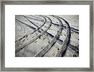 Tire Tracks And Footprints, Long Beach Peninsula, Washington Framed Print by Paul Edmondson