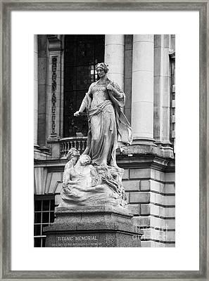 Titanic Memorial Sculpture In The Grounds Of Belfast City Hall Belfast Northern Ireland Uk Framed Print by Joe Fox