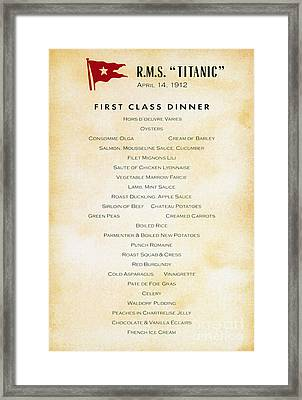 Titanic: Menu, 1912 Framed Print