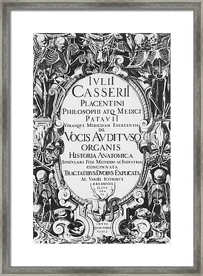 Title Page, Giulio Casserios Anatomy Framed Print by Science Source