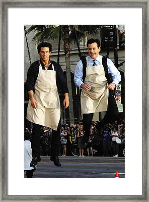 Tom Cruise, Jimmy Kimmel At Talk Show Framed Print by Everett