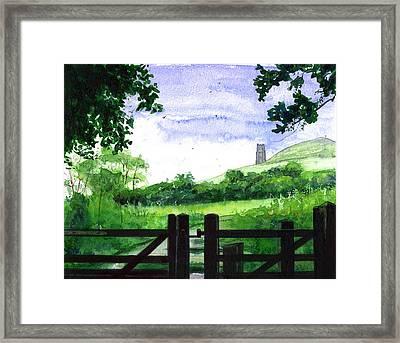 Tor In Glastonbury Framed Print by John D Benson