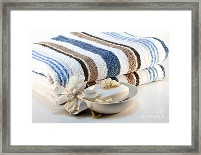 Towel With Soap Framed Print