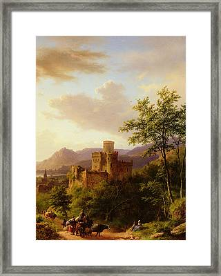 Travellers On A Path In An Extensive Rhineland Landscape Framed Print by Barend Cornelis Koekkoek
