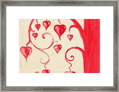 Tree Of Heart Painting On Paper Framed Print