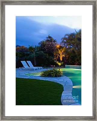 Tropical Backyard Pool At Night Framed Print by Inti St. Clair