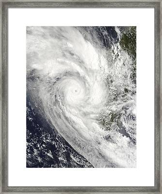 Tropical Cyclone Fanele Over Madagascar Framed Print by Stocktrek Images