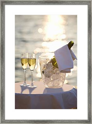 Two Glasses Of Champagne At Sunset Framed Print
