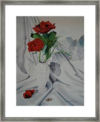 Framed Print featuring the painting Two Roses by Teresa Beyer