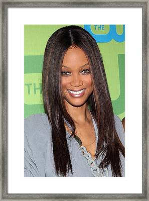 Tyra Banks At Arrivals For The Cw Framed Print by Everett