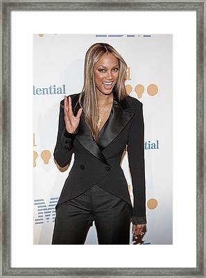 Tyra Banks Wearing A Georges Chakra Framed Print by Everett