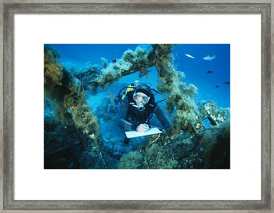 Underwater Biological Research Framed Print by Alexis Rosenfeld