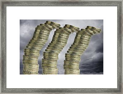 Unstable Economy, Conceptual Image Framed Print