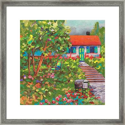 Up The Garden Path Framed Print by Val Stokes