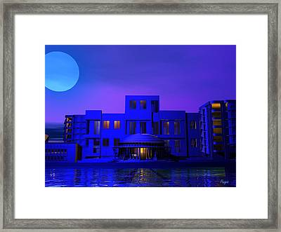 Framed Print featuring the digital art Urban Blue by John Pangia