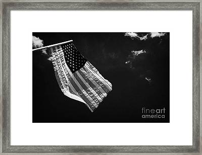 Us American Flag On Flagpole Against Blue Cloudy Sky Usa Framed Print