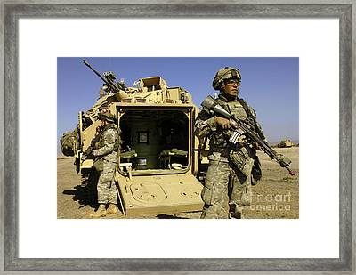 U.s. Army Soldiers Provide Security Framed Print by Stocktrek Images