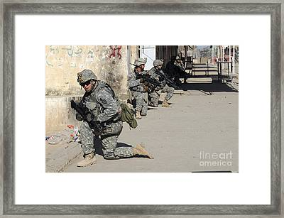 U.s. Army Soldiers Providing Security Framed Print by Stocktrek Images