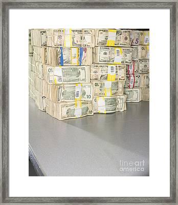 Us Bills In Bundles Framed Print by Adam Crowley