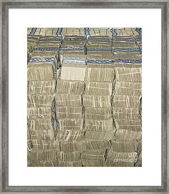Us Cash Bundles Framed Print by Adam Crowley