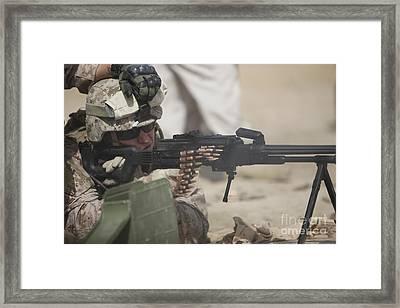 U.s. Marine Firing A Pk 7.62mm Machine Framed Print by Terry Moore