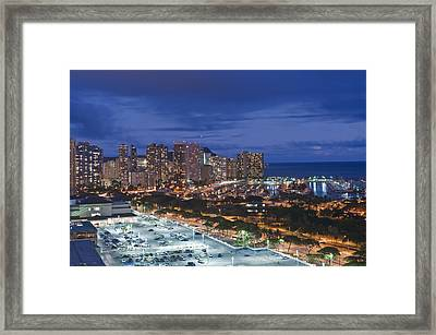 Usa Hi Honoluluwaikiki Skyline Framed Print