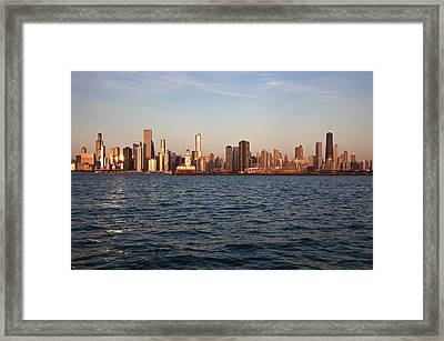 Usa, Illinois, Chicago, City Skyline Over Lake Michigan Framed Print by Henryk Sadura