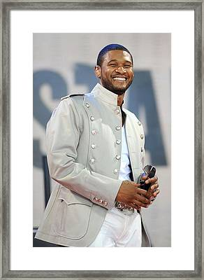 Usher On Stage For Abc Gma Concert Framed Print by Everett