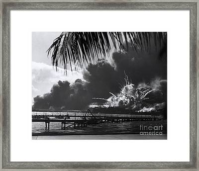 Uss Shaw, Pearl Harbor, December 7, 1941 Framed Print by Photo Researchers