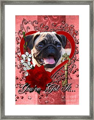 Valentines - Key To My Heart Pug Framed Print
