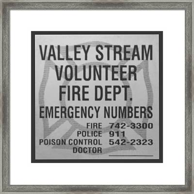 Valley Stream Fire Department In Black And White Framed Print by Rob Hans