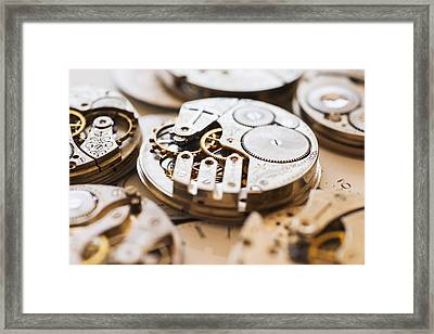 Variety Of Watches Striped To Parts Framed Print by Tetra Images
