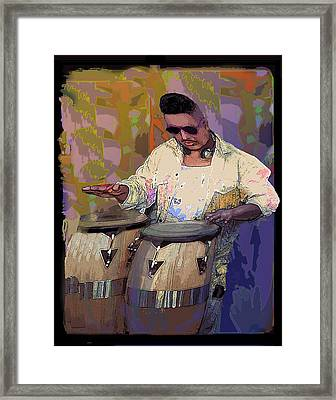 Venice Beach Drummer Framed Print by Alice Ramirez