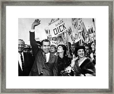 Vice President Richard Nixon And Wife Framed Print by Everett