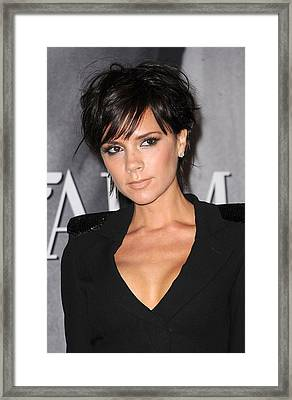 Victoria Beckham At In-store Appearance Framed Print by Everett